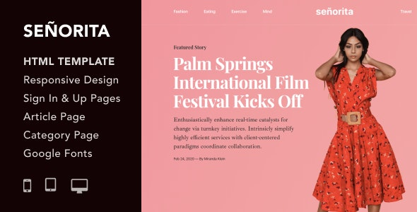 Senorita - Magazine and Blog HTML5 Responsive Template
