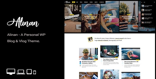 Alinan - A Personal WordPress Blog and Vlog Theme